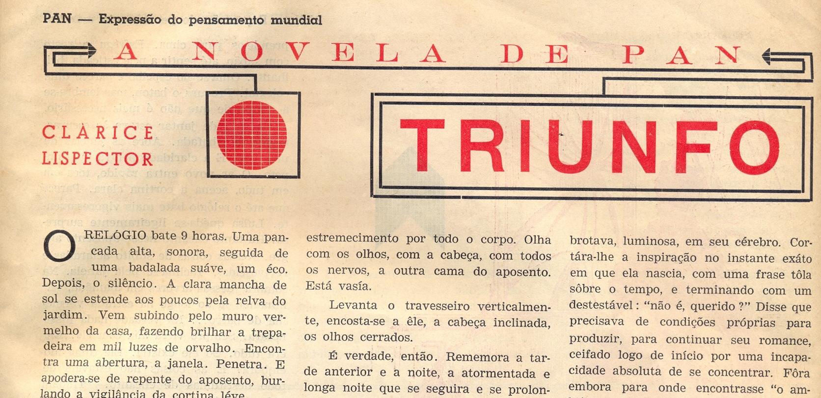 """""""Triunfo"""", a estreia de Clarice na imprensa"""